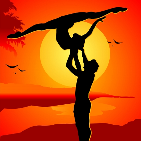 passionate: Beautiful couple on a sunset in passionate dance Illustration