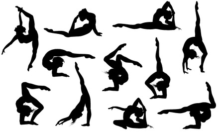 gymnastics sports: Set of 11 yoga asanas silhouettes Illustration