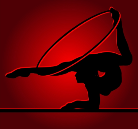 Flexible gymnast with hoop on a red background Vector