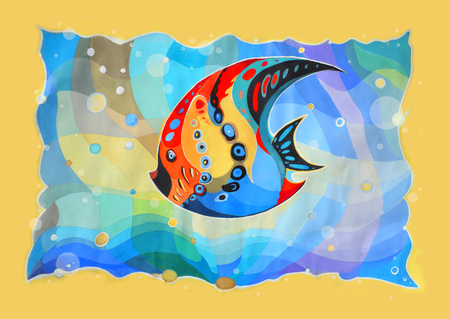 Abstract fish. Painted image Stock Photo - 23913472