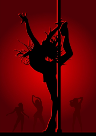 Dancing girl in red light Illustration