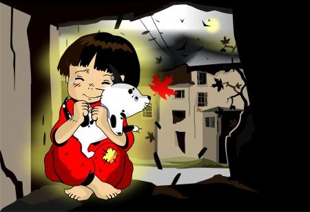 Homeless child. Conceptual vector illustration. Illustration