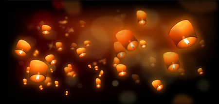 Flying Lanterns in the night sky  Vector