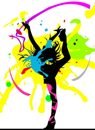 Dancing girl in abstract splashes