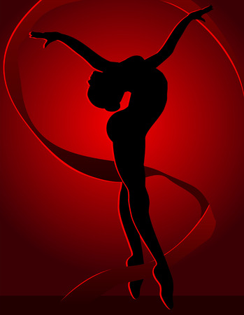 bailarines silueta: Baile de la chica con la cinta flexible