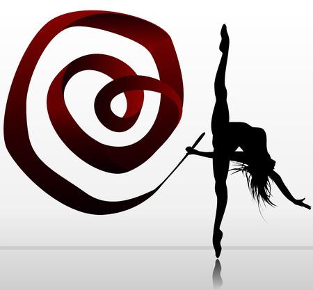 Flexible girl dancing with ribbon  Stock Vector - 26023520