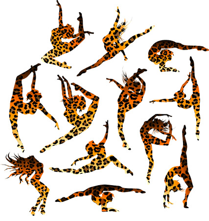 Set of 12 gymnast Vector
