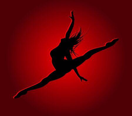 Flexible dancing girl in red light Stock Vector - 26559534