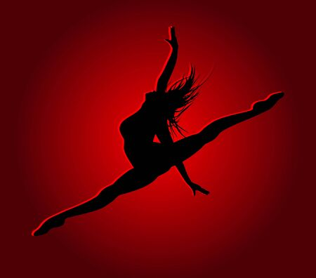 Flexible dancing girl in red light Stock Vector - 26559534