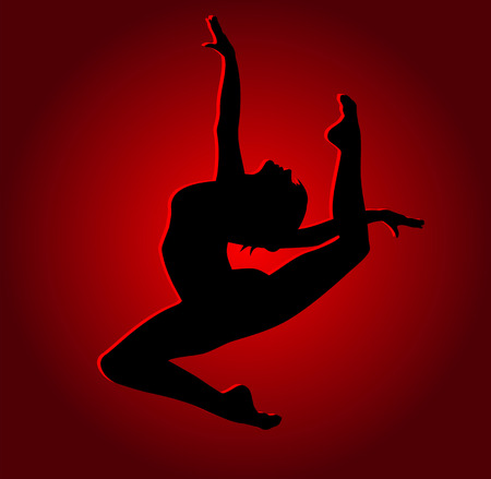 Flexible dancing girl in red light Stock Vector - 26559667