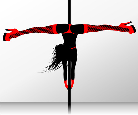 Pole dance. Erotic striptease Vector