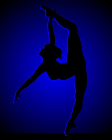 bailarines silueta: Flexible chica bailando Vectores