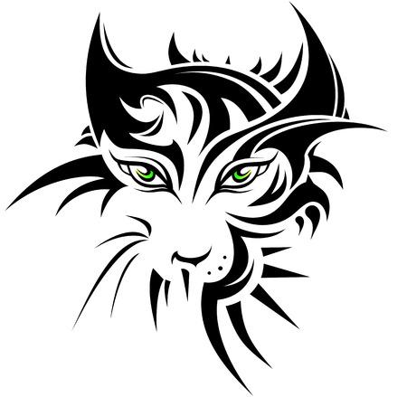 silvestres: Tigre abstracta en estilo del tatuaje Vectores