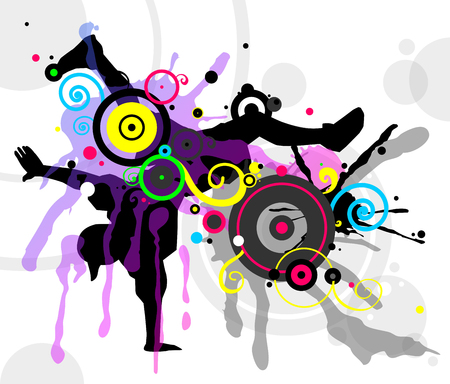 Dancer in abstract splashes