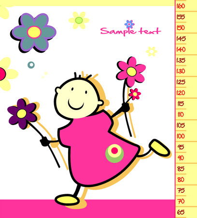 height: Baby height measure  vector in original proportions 1 2  Illustration
