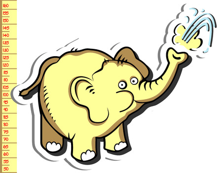 Baby height measure with funny elephant (vector in original proportions 1:10; jpeg - 1:3) Illustration