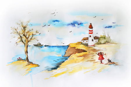 Marine landscape. Water color drawing photo