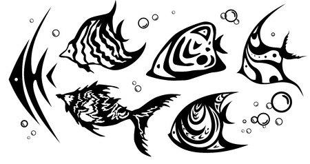 Set of abstract fishes in tattoo style  Vector