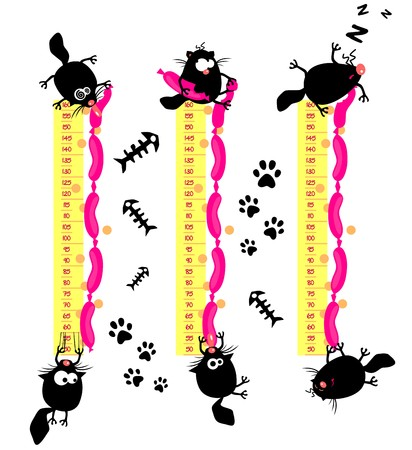 gluttonous: Baby height measure with funny cats  vector in original proportions 1 to 10, jpg 1 to 3