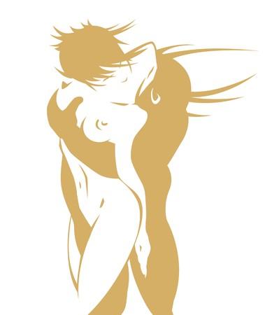 pareja desnuda: Pareja desnuda en un beso apasionado