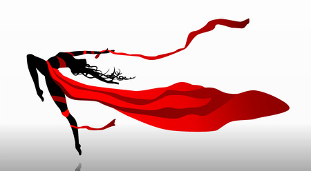 Beautiful girl dancing in red dress with ribbons on a wind Ilustração