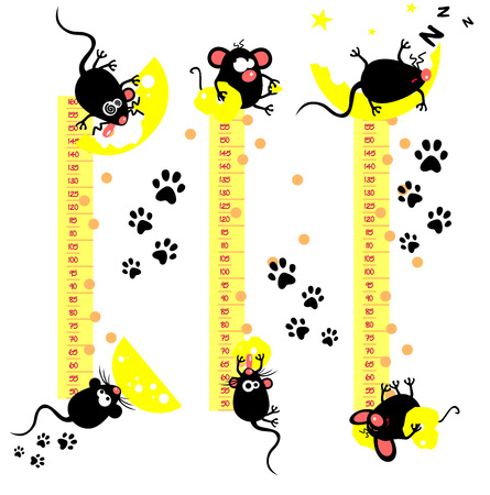 gluttonous: Baby height measure with funny mice (vector in proportions 1:10, jpeg 1:3)