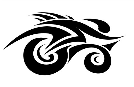 motor bikes: Abstract cyclist in tattoo style.