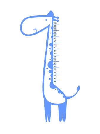 height measure: Baby height measure with funny giraffe (scale 1:4) Illustration