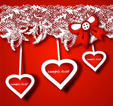 lacy: Gift background with hearts shapes and lacy decor