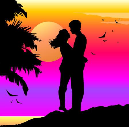 Romantic illustration with lovers on a sunset Ilustração