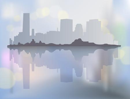 City landscape with buildings in mist. Vector illustration Ilustração