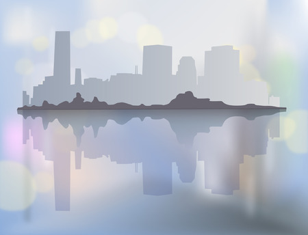City landscape with buildings in mist. Vector illustration Иллюстрация