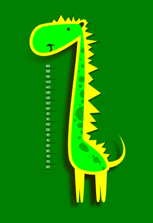 measure height: Baby height measure with funny dinosaur (scale 1:4) Illustration