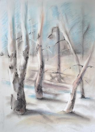 trabajo manual: Paisaje rural. Dibujo pintado por trabajo hecho a mano en colores pastel