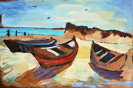 painting drawings: Hand-draw painting in gouache. Marine landscape Stock Photo