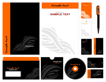 Corporate style in black and orange. 12 templates: blank, card, pen, cd, note-paper, envelope, business card.