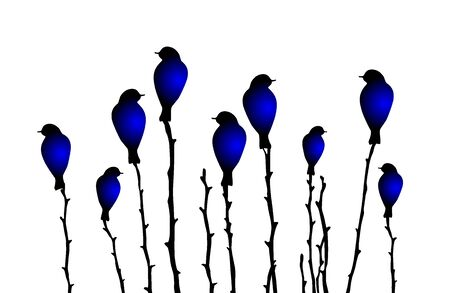 Vector illustration with abstract blue birds on  branches