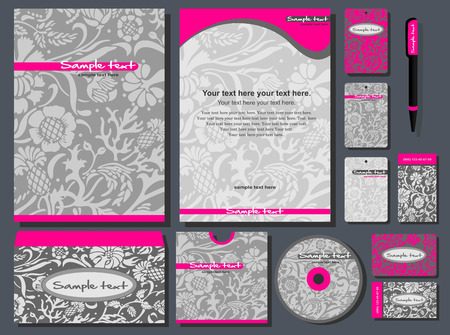 name card design: Corporate style. 12 templates: blank, card, pen, cd, note-paper, envelope, business card.