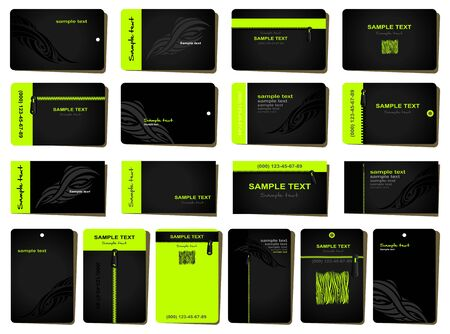 business card template: Business cards. 18 various templates in strict style  in black and green. Illustration