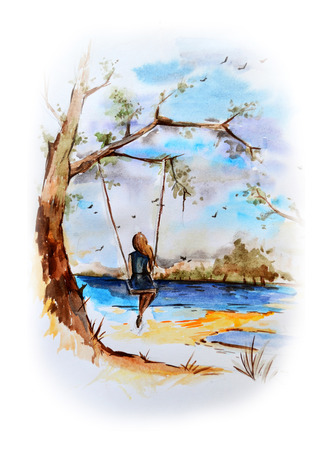handdraw: Rural landscape in marine style. Hand-draw watercolor painting