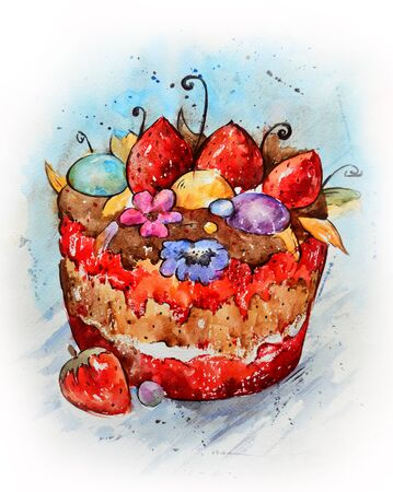 bright cake: Watercolor hand-draw sketch of bright cartoon cake.