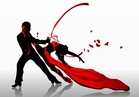 dancing silhouettes: Beautiful couple in passionate dance.