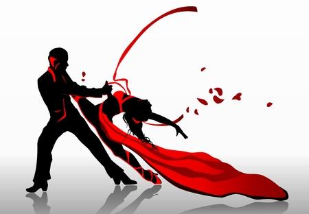 donna che balla: Bella coppia in appassionato di ballo. Vettoriali