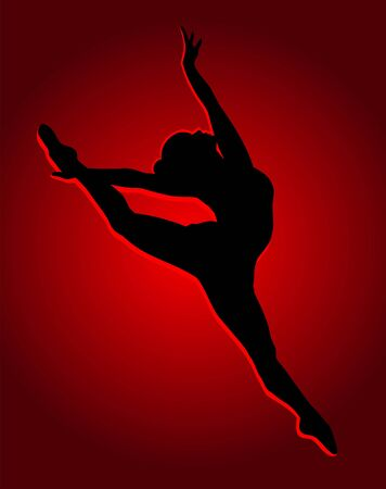 flexible girl: Flexible dancing girl in red light. Illustration