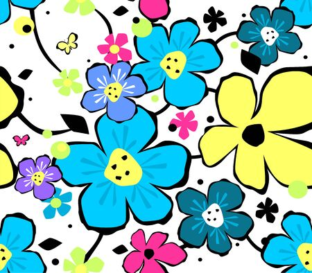 pattern flower: Abstract floral background with seamless composition Illustration