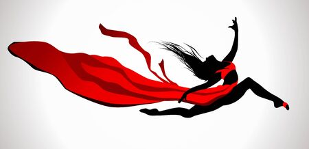 flexible girl: Beautiful girl dancing in red dress with ribbon on a wind. Illustration