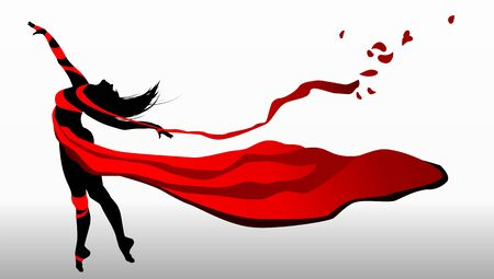 flexible woman: Beautiful girl dancing in red dress with ribbons on a wind.