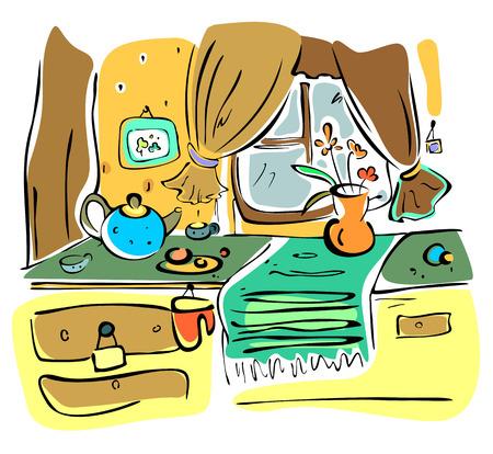warm things: Illustration of funny kitchen interior in cartoon style. Illustration