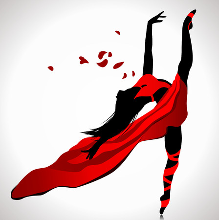flexible woman: Beautiful girl dancing in red dress. Illustration