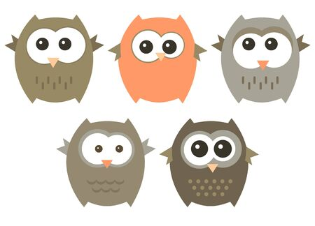 set of cute owls isolated on a white. Stock Illustratie